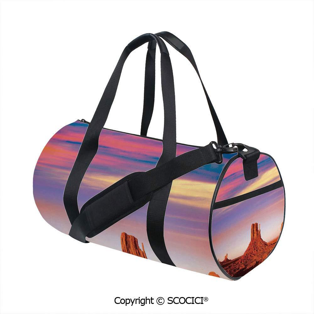 Unisex Cylinder Sports Bag,Monument Valley West Mitten and Merrick Butte Sunset Utah DesertSports and Fitness Essentials,(17.6 x 9 x 9 in) Dark Orange Pink Blue by SCOCICI
