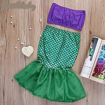 Kids Ariel Little Mermaid Set Girl Princess Dress Party Cosplay Costume ST