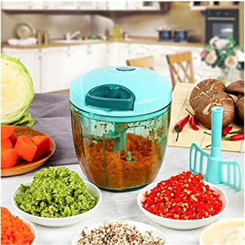 MAXGOODS 900ML Picadora Manual de Verdura Cortador de Verduras con 5 Cuchillas de Acero Inoxidable para Picar Verduras Frutas Carne Cebolla Jengibre Ajo ...