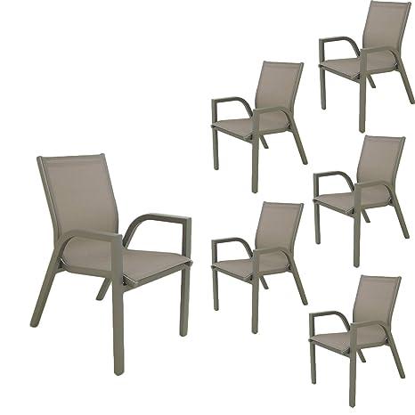 Edenjardi Pack 6 sillones de jardín apilables | Tamaño ...
