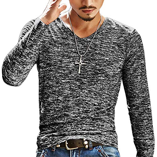 Makkrom Mens Basic Slim Fit Long Sleeve T-Shirts V Neck Hipster Hip Hop Cotton Plain Casual Jersey Shirt Grey (Best Mens Hipster Clothing Websites)