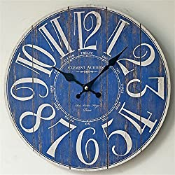 14 Retro Round Arabic numerals Wall Clock Nostalgia Frameless painting Wood Mute Decoration Clock(blue)