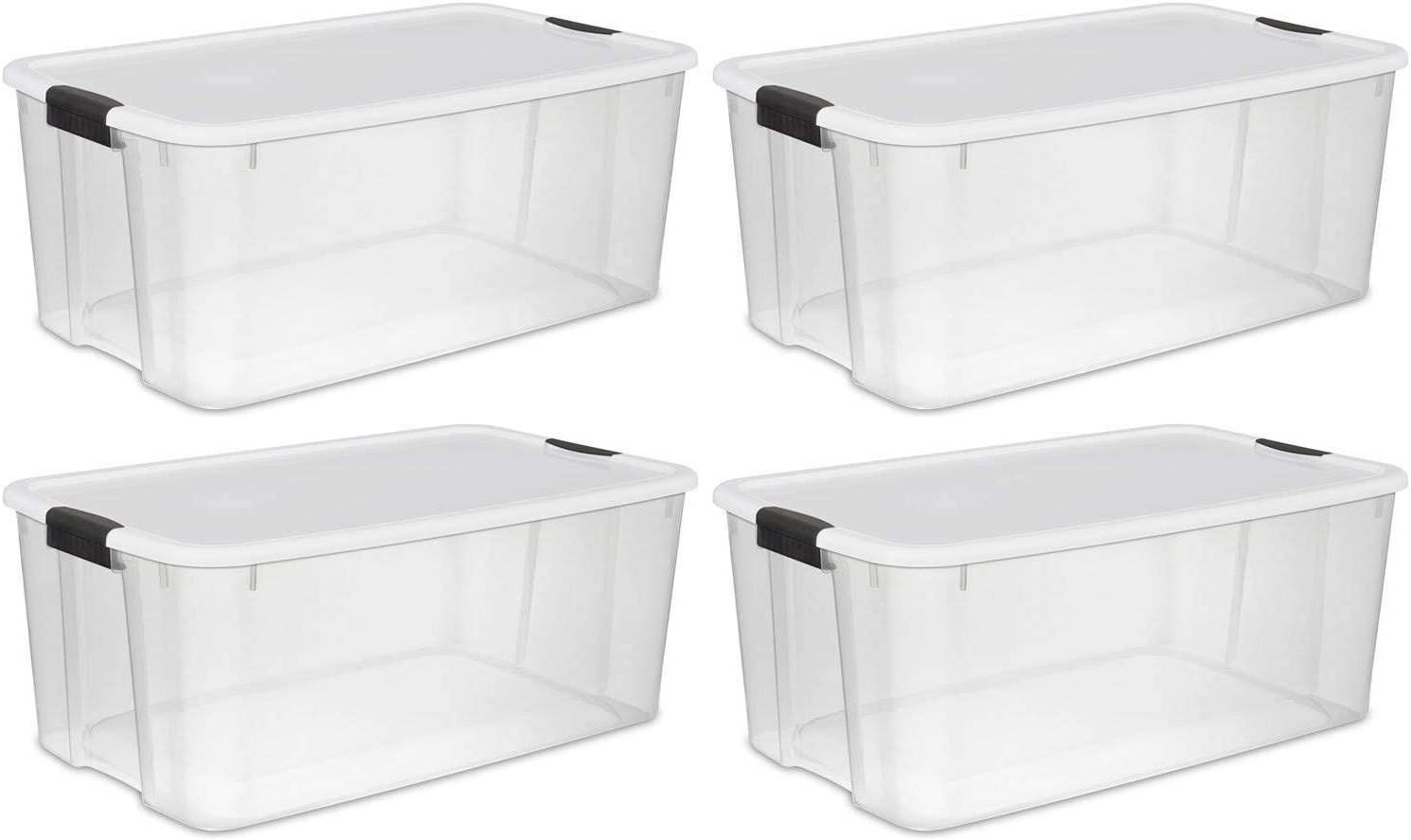 Sterilite 116 Quart Ultra Clear Plastic Storage Tote Container with Latching Lid (4 Pack)