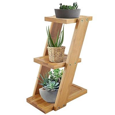 Rehomy 3-Tier Plant Stand, Bamboo Desktop Potted Plant Flower Holder Storage Display Rack Shelf for Indoor Outdoor Patio Garden Corner Balcony Living Room : Garden & Outdoor