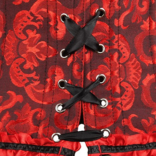 Pizzo scuro spalline Pizzo senza Rosso Sexy Gothic Donna S Acmede 6xl Taglia Corsetto f7xZHwfY