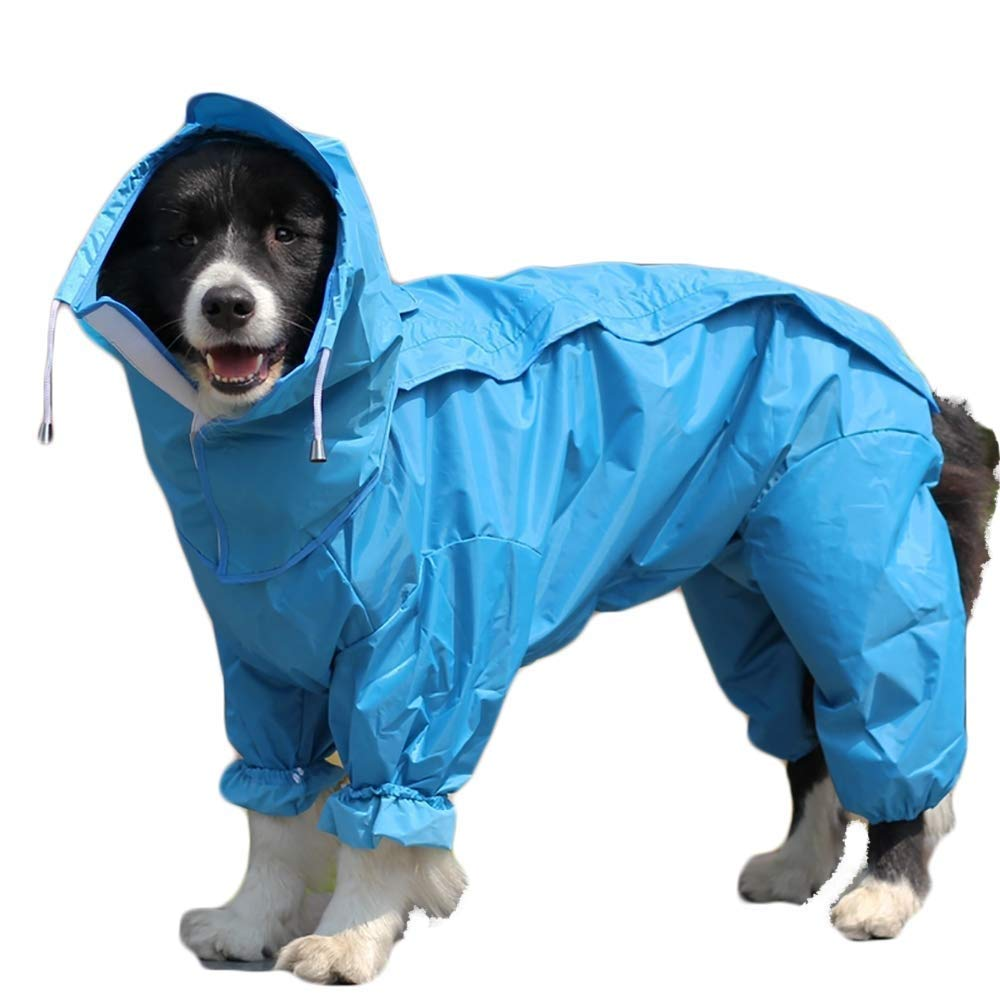 bluee 22 (Back Length  60cm)Raincoat Dog Raincoat with Removable Hoodie, Outdoor Adjustable Drawstring, Magic Tape Waterproof Rain Jacket with Hood Collar Hole (color   Red, Size   20)
