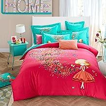 4pcs Duvet Cover Set Fuschia and Turquoise Butterfly Reversible Comforter Bedspread Pillowcases,100% Cotton Comforter Set Queen King Twin (CN QUEEN)