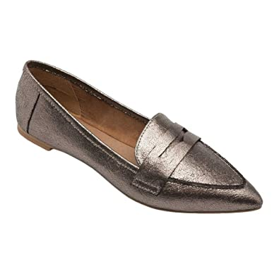 9bfbf9edede Pic Pay Margo Women s Flats - Pointy Toe Penny Loafer Pewter Metallic PU 5M