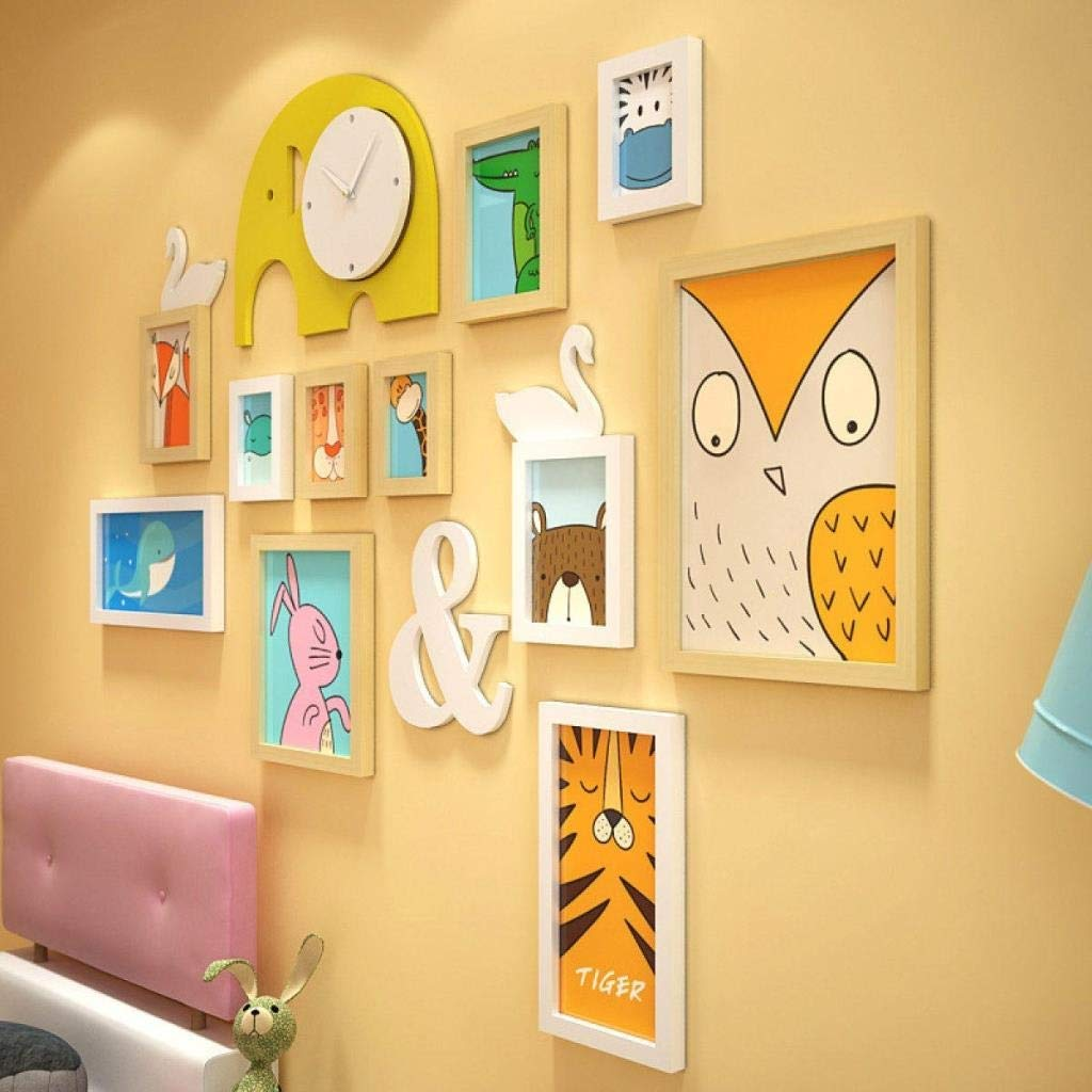 Jjek K Creative Photo Wall Photo Frame Combination Home Decoration Frame Acrylic Wooden Wall Stickers Decorative Elephant Wall Clock 14 Pieces by Jjek