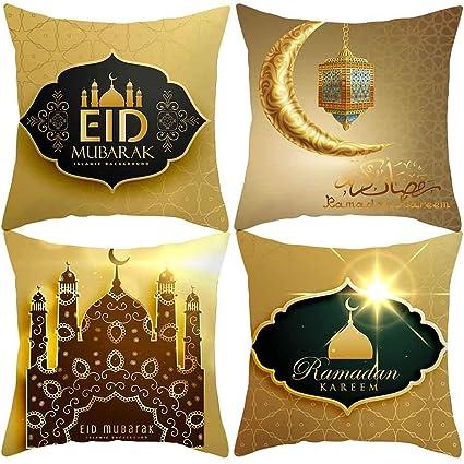 Yuyuando 4pcs Islam Musulman Housse De Coussin En Polyester Eid Mubarak Decor Musulman Maison Canapé Taie Doreiller Salon Cadeau Cérémonie Fête