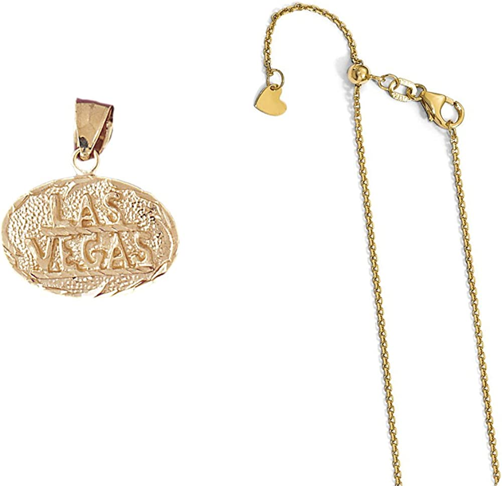14K Yellow Gold Las Vegas Pendant on an Adjustable 14K Yellow Gold Chain Necklace