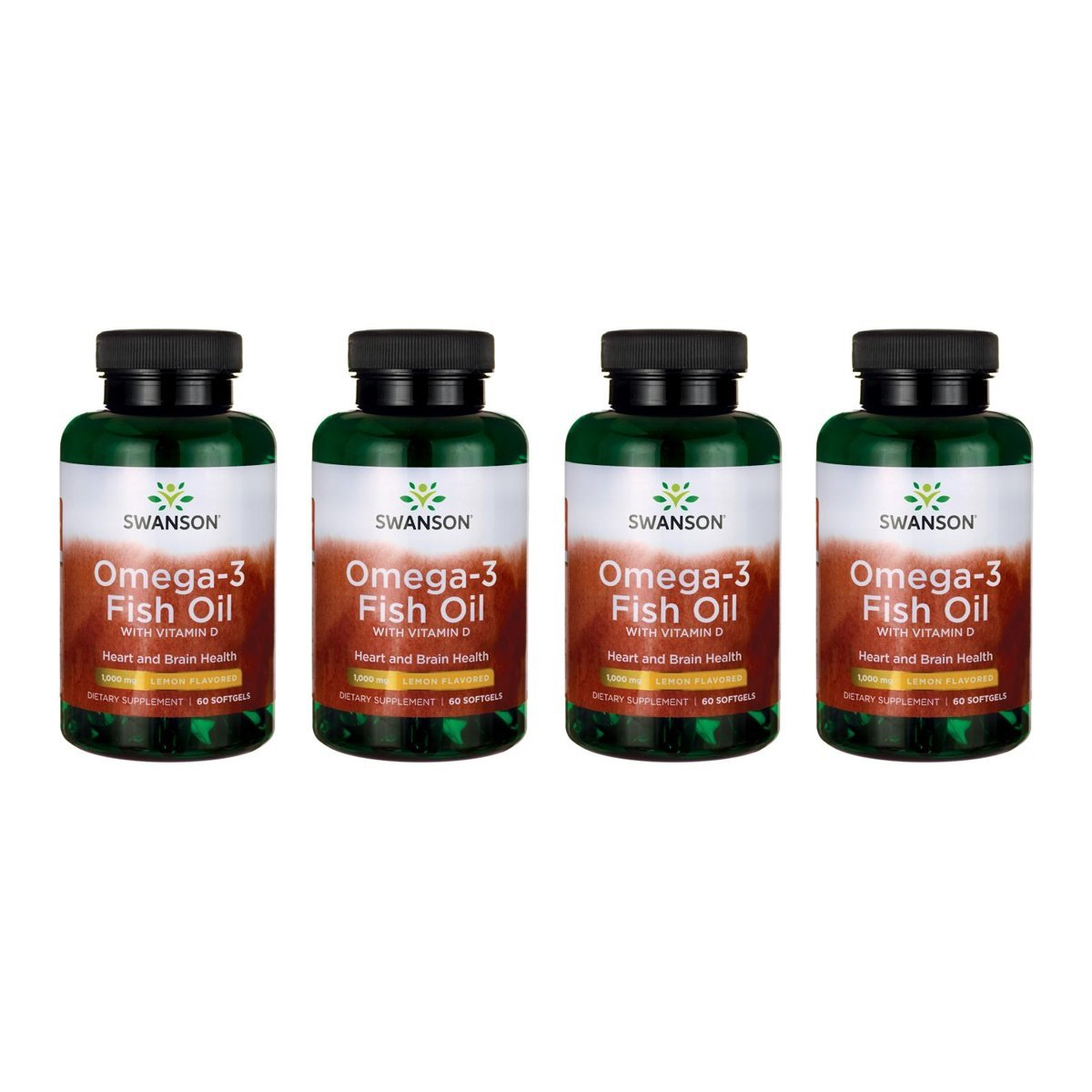 Amazon.com: Swanson Omega-3 Fish Oil with Vitamin D - Lemon Flavored 1,000 mg 60 Sgels 2 Pack: Health & Personal Care