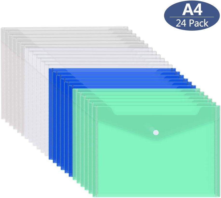 Gurkkst 24 Piezas Carpeta para Documentos A4 Documentos Carpetas Plástico 4 colores traslúcidos para Archivo, Diseño con Botones