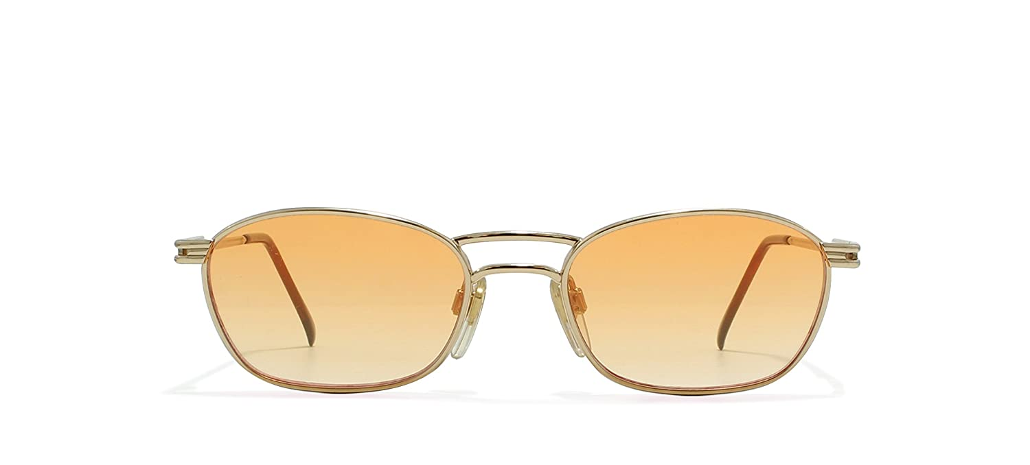 Valentino V464 903 Gold Flat Lens Vintage Sunglasses Round For Mens and Womens