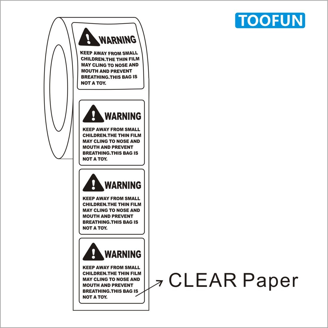 TOOFUN Suffocation Warning Labels, 1,000 Labels/Roll, 2'' X 2'', Peel and Stick, FBA Labels, Shipping Labels (Clear Warning Label) by TOOFUN (Image #2)