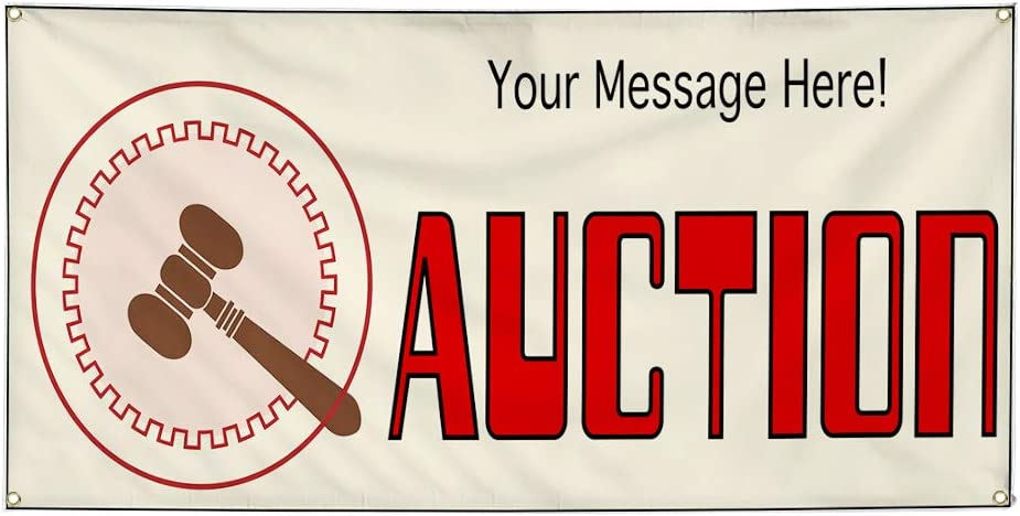 Custom Industrial Vinyl Banner Multiple Sizes Auction Style C Personalized Text Here Business Outdoor Weatherproof Yard Signs Red 8 Grommets 40x100Inches
