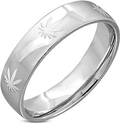 Stainless Steel Matte Finished Maple// Marijuana Ganja Leaf Flat Band Ring