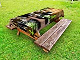 Ambesonne Spa Outdoor Tablecloth, Asian Zen Massage Stone Triplets with Herbal Oil and Scent Candles Print, Decorative Washable Picnic Table Cloth, 58 X 84 inches, Black Brown and White