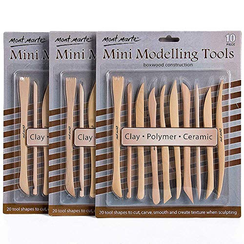 Mont Marte Polymer Clay Tools Pottery Tools Clay Sculpting Tools for Sculpting 10 pces, 3 Pack ()