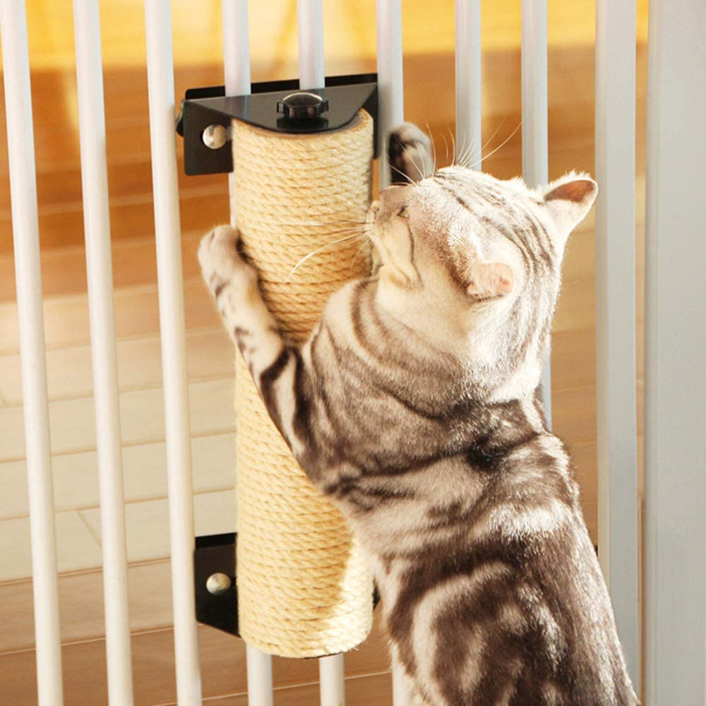 Gatoo Cat Scratching Post, Wall Mounted Cat Scratcher Grinding Claws Pole for Cat Cage, Space-Saving Natural Sisal Cat Furniture for Cats/Kittens