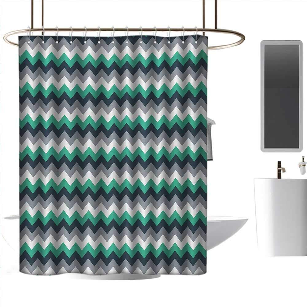 Perfectble Shower Curtain Liner Chevron,Zig Zag Symmetric Arrows Striped Pattern in Vibrant Color Artisan Print,Jade Green Grey White Rust-Resistant Grommet Holes W72 x L72 Inch