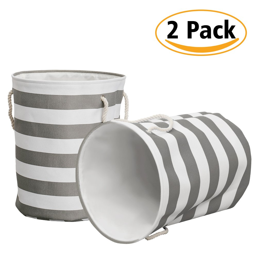 Haperlare 2 Pack Laundry Basket, Collapsible Round Large Storage Bins, 3 Thicken Layer Canvas Linen Hamper Bag with Cotton Rope Handles Gray Stripe