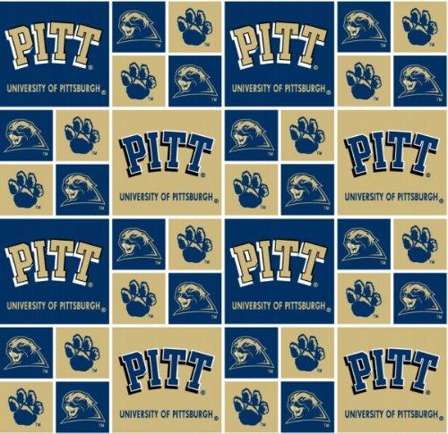 Cotton University of Pittsburgh Pitt Panthers College Cotton Fabric Print - spitt020s