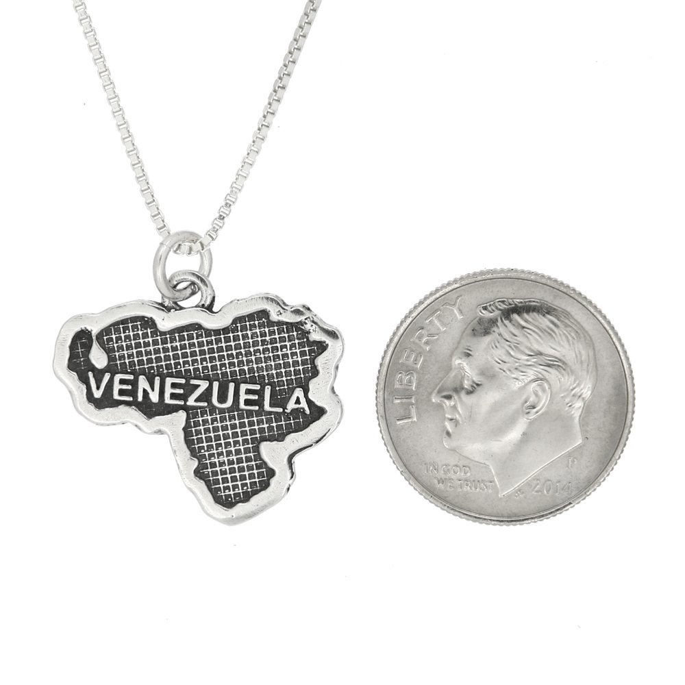 Lgu Sterling Silver Oxidized Textured Country of Venezuela Map with Box Chain Necklace