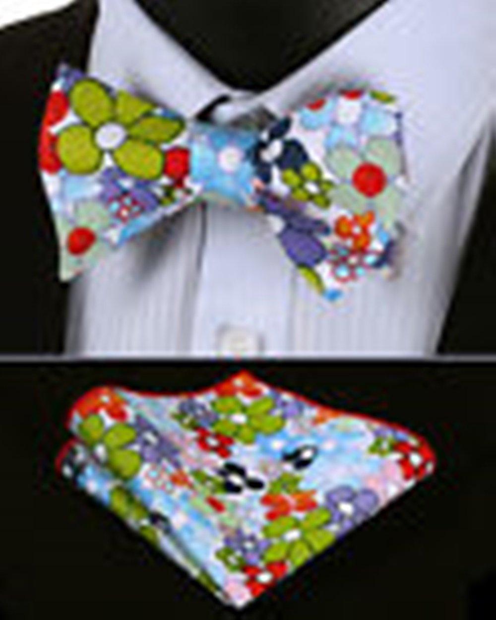 Mondaily DLF302M Green Purple Red Floral Men Cotton Self Bow Tie Pocket Square set #PPTE4637