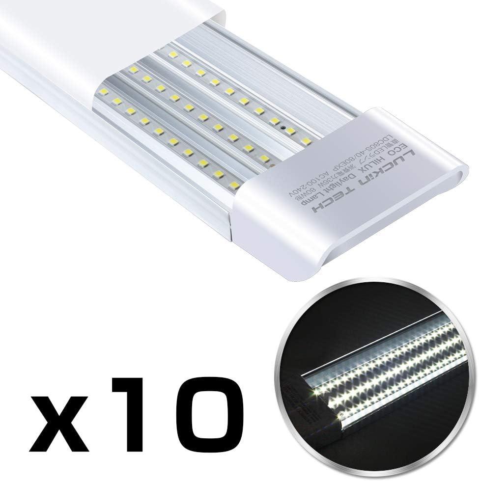 LED蛍光灯,【2019進化版3本相当】超高輝度LEDベースライト 80W形 40W消費電力 昼光色(6000K) 器具一体型 直付 3列チップ 薄型 長さ120cm 省エネ 全光束(6300lm) 10本セット 工事不要 1年保証