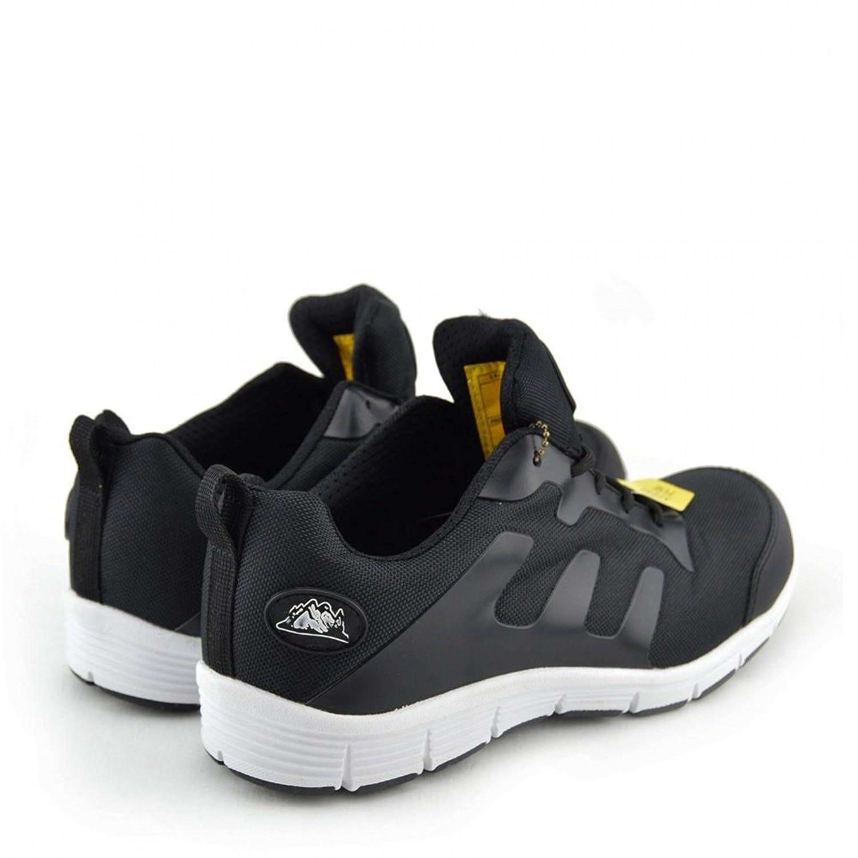 Kick Footwear Mens Bases de Acero Puntera de Seguridad de Encaje de Trabajo Ligero Entrenadores,punta de Acero - REINO UNIDO 5/EU 38, Negro-Blanco