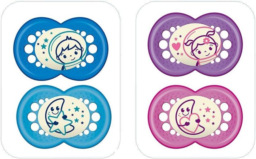 Mam - Conjunto de maniquíes para la noche, de silicona, en unos estériles, con edades entre 18 meses y mayores, 2 piezas, colores surtidos.: Amazon.es: Bebé