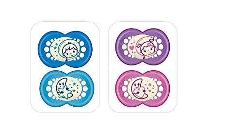 Mam - Conjunto de maniquíes para la noche, de silicona, en unos estériles, con edades entre 18 meses y mayores, 2 piezas, colores surtidos.