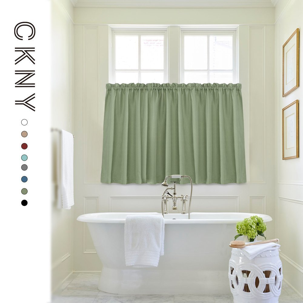 Sage Tier Curtains For Kitchen 36 Inch Water Proof Window Bathroom Caf Curtain Panels Waffle Weave Textured Short Half 2