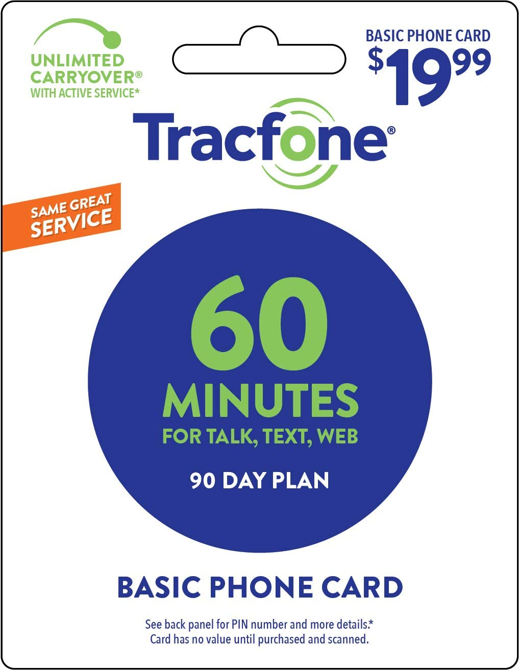 B003OTGYCC Tracfone 60 Minute Card + 90 days of Service - Airtime Card Refill - PIN # Number (Tracfone USA Only) 61gG2Bm2BJjVL
