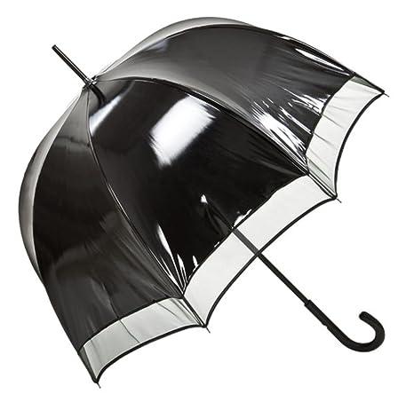 Paraguas de Jean Paul Gaultier de las mujeres de lujo de diseño negro de vinilo-