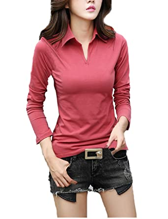 72a712367731 Smartprix Womens Cotton Long Sleeve t Shirts Solid Color Casual V Neck Polo T  Shirt Tops at Amazon Women's Clothing store: