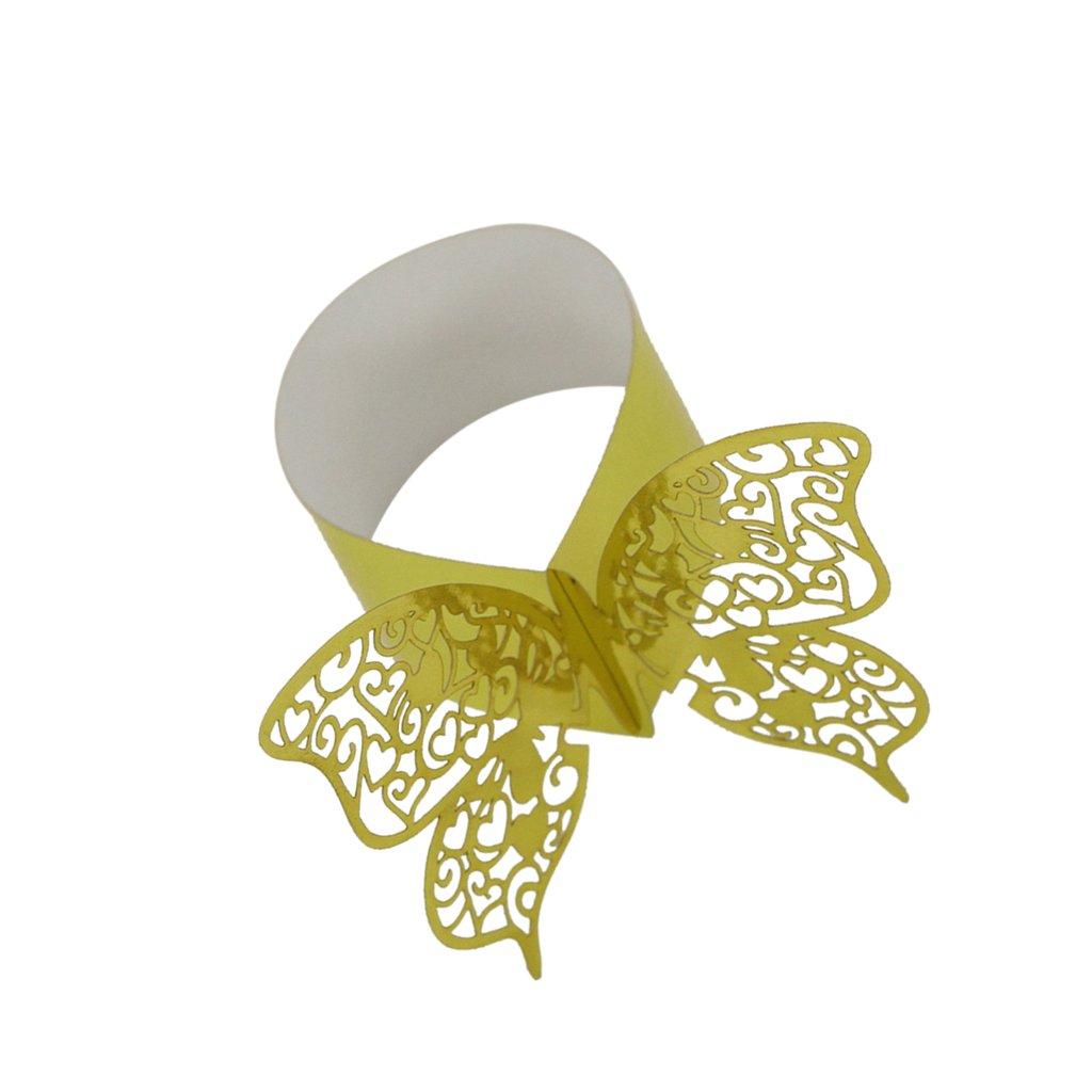 50pcs Serviette Inhaber Serviettenringe Schmetterling Dekoration Weihnachten Hochzeit purpur