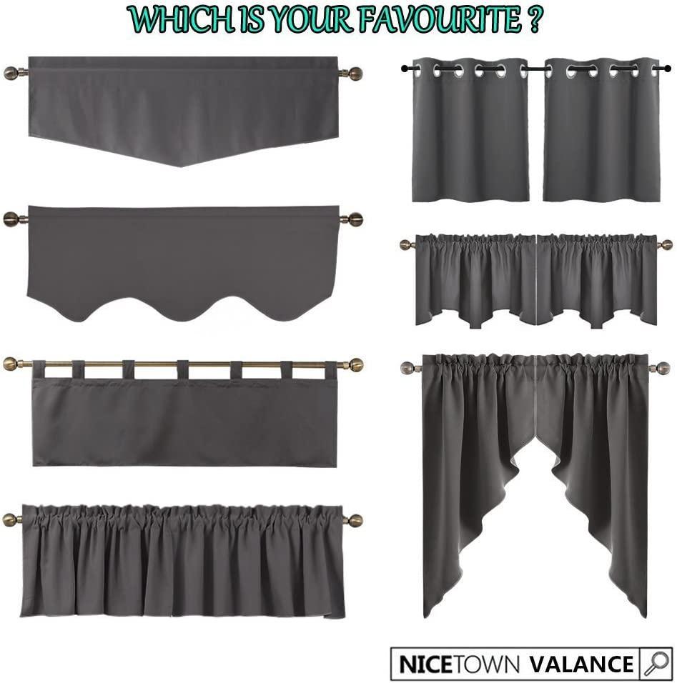 Thermal Insulated Energy Smart Half Window Valance Curtains for Bedroom Lavender Pink=Baby Pink, 2 Panels, 29W by 24L inches NICETOWN Room Darkening Window Valances