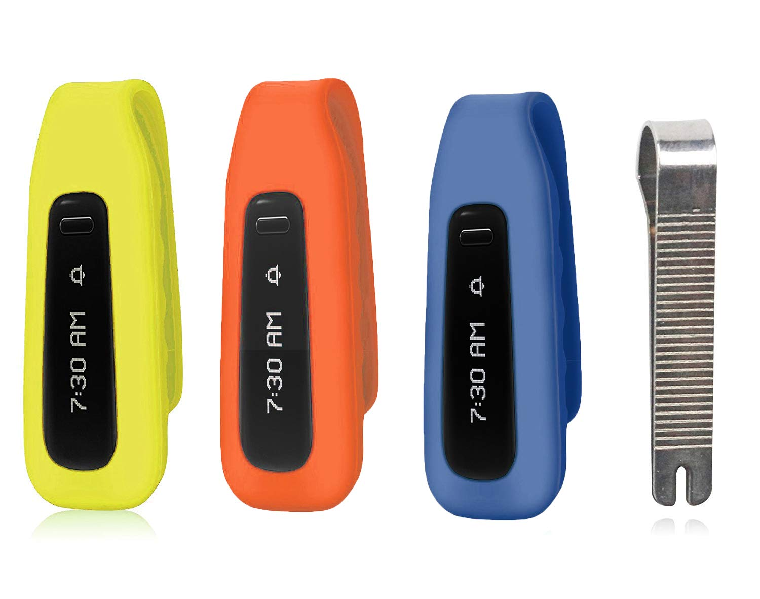 MDW 3 Pcs Silicon Clip for Fitbit ONE New Version Replacement Clip Accessory Pack for Fitbit ONE Anti Slip Off and Improved Cap Design /¡/ Orange Navy