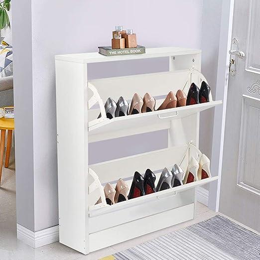 Schuhschrank weiß Schuhkommode 2 Klappen Schuhaufbewahrung Schuhkipper 8 Paar