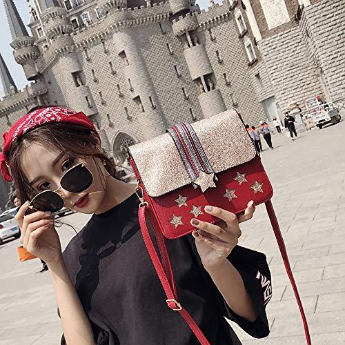 a tracolla da zaino Bag vintage JUNMAONO Borsa borsetta PU tracolla Borsa Messenger spiaggia Borse per Borse Donna Borse pelle a elegante Borsa Borsa donne catena tela Red xxX0qpvf