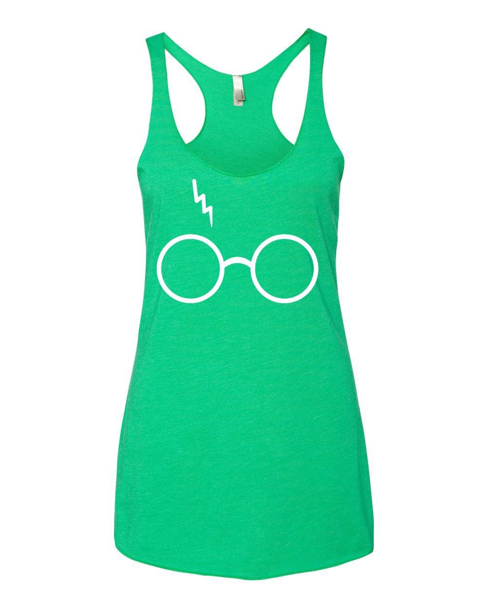 Wild Bobby Harry Potter Glasses Scar Premium Tri-Blend Racerback Women's Tank Top (Green Envy, Small)