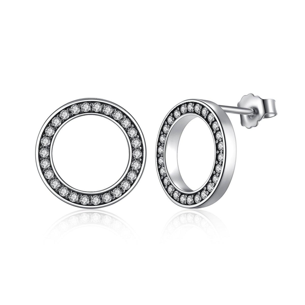 9b2cf54002d00 Presentski Pierced Earrings for Women Girls,925 Sterling Silver CZ Circle  Stud,Jewellery Gift