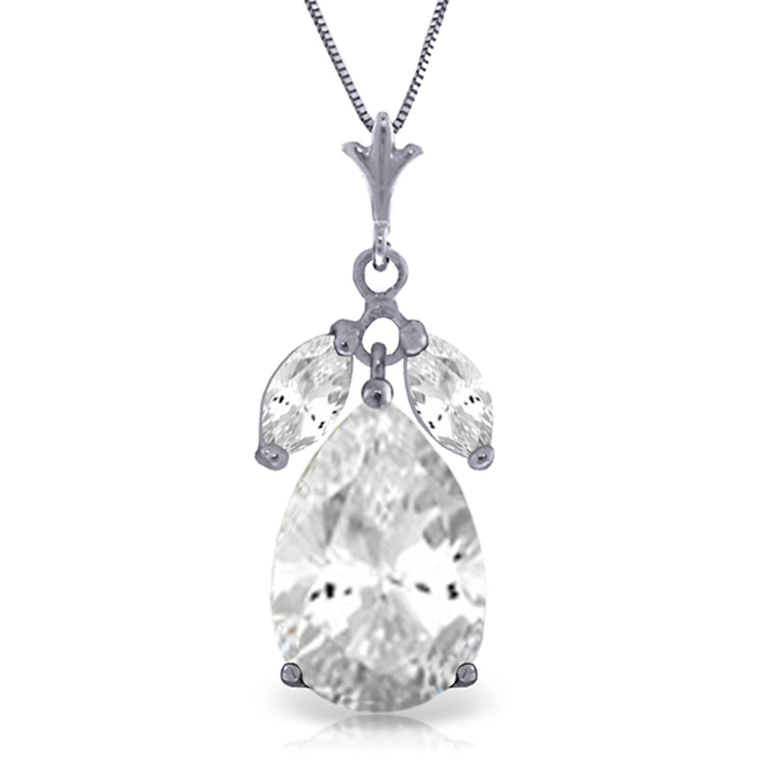 ALARRI 6.5 CTW 14K Solid White Gold Summer Twilight White Topaz Necklace with 24 Inch Chain Length
