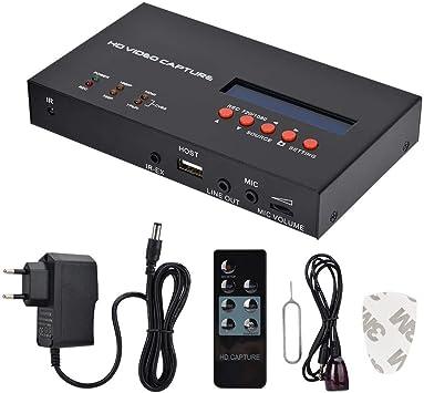 Caja de Captura de Video HD con Control Remoto, Dispositivo de Captura de Video HD 1080P Grabación HDMI con Puerto de Entrada de micrófono para cámara HD Juego de TV EU 100-240V: