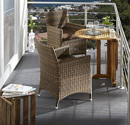Dreams4Home Balkon Set 'Canbarra' Rattan Gartenstuhl Klapptisch Garten Terrasse inkl. Polster