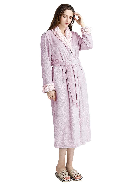 Women Dressing Gown Pink Grey Coffee Long Bathrobe M L XL Ladies Housecoat Nightgown Super Plush Collar Soft Warm Fleece Sleepwear Girls Lightweight Winter Nightwear for Spa Hotel Housing Towel Robe