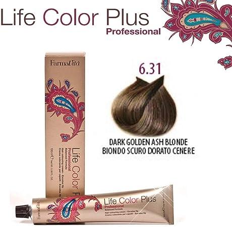 FarmaVita Life Color Plus, Tinte 6.31 Rubio Oscuro Dorado Ceniza - 60 ml