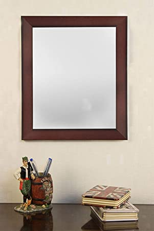 Sifty Collection Fiber Framed Decorative Wall Mirror Or Bathroom Mirror Brown (Inner Size 10 x 12 inch, Outer Size 12 x 14 inch)
